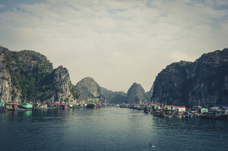 Cat Ba, Vietnam Vietnam Beauty In Nature Boats Mountain Mountain Range Nature Nautical Vessel Outdoors Rock - Object Scenics Sea Sky Water Waterfront EyeEmNewHere