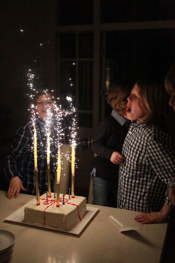 Birthday Cake Birthday Party Casual Clothing Enjoyment Illuminated Leisure Activity Lifestyles Night Sitting