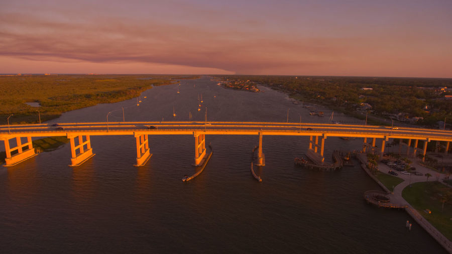 Scenic view of bridge over river against sky during sunset