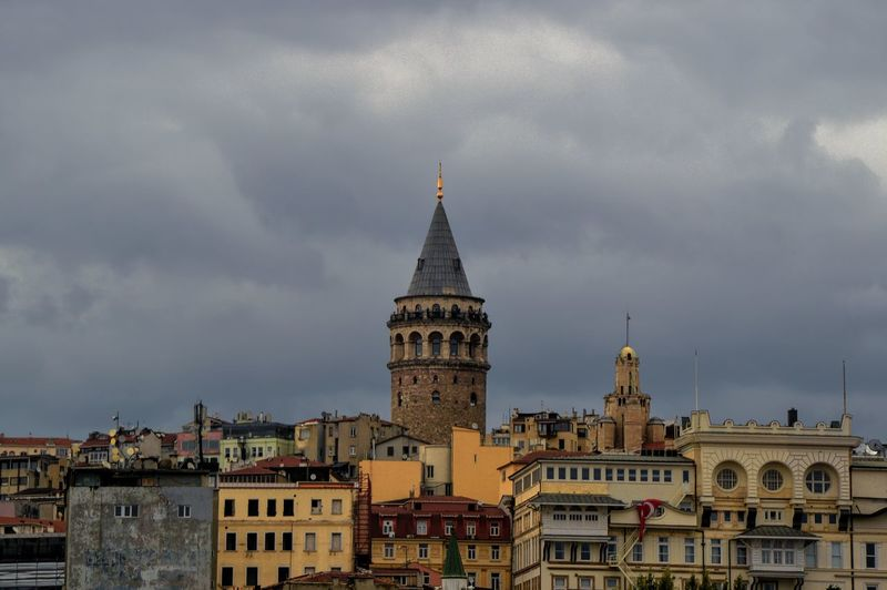 Architecture Atmospheric Mood Building Exterior Built Structure City City Life Cloud Cloud - Sky Cloudy Day Famous Place Galata Tower High Section History Istanbul Turkey No People Old Town Outdoors Sky Spire  Storm Cloud Tall - High Tourism Tower Travel Destinations