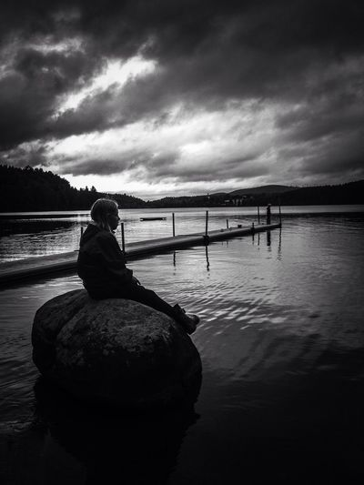 Out on a fishingtrip With My kids. The Moment - 2014 EyeEm Awards Silhouette Black & White Popular Photos
