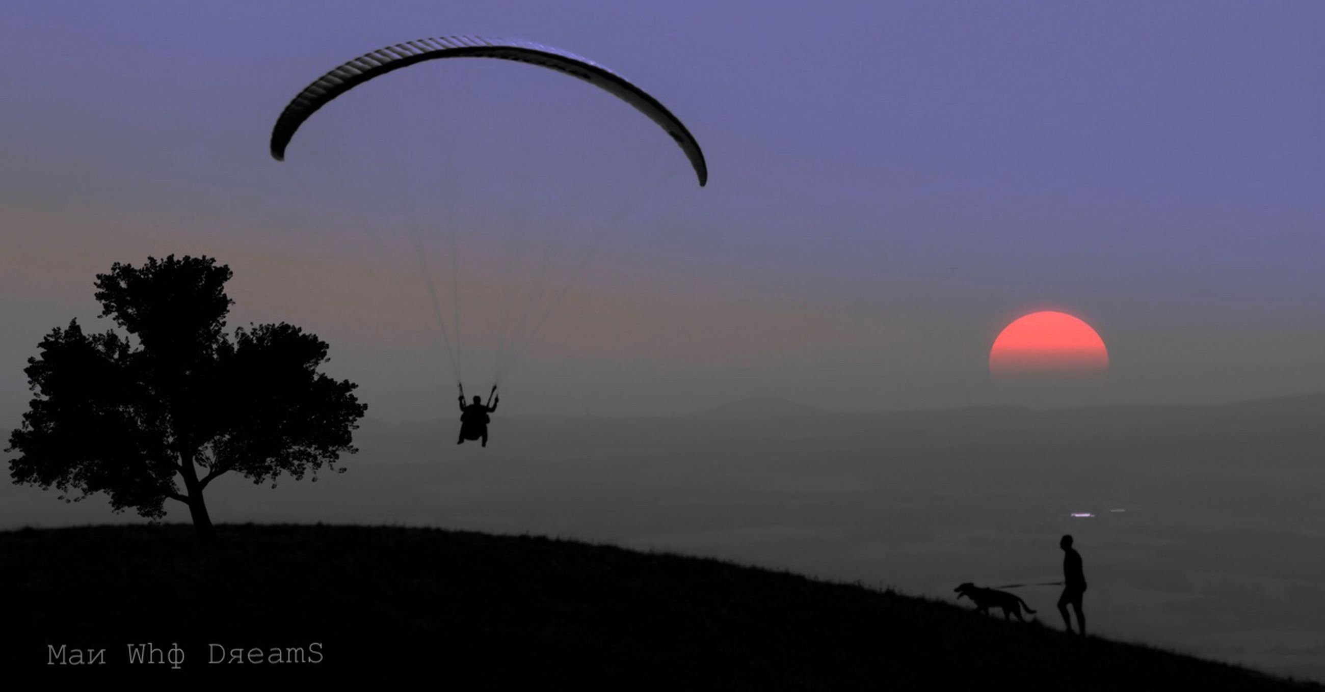 sky, adventure, leisure activity, parachute, real people, lifestyles, nature, paragliding, unrecognizable person, sunset, silhouette, people, flying, men, extreme sports, sun, land, beauty in nature, sport, outdoors, freedom