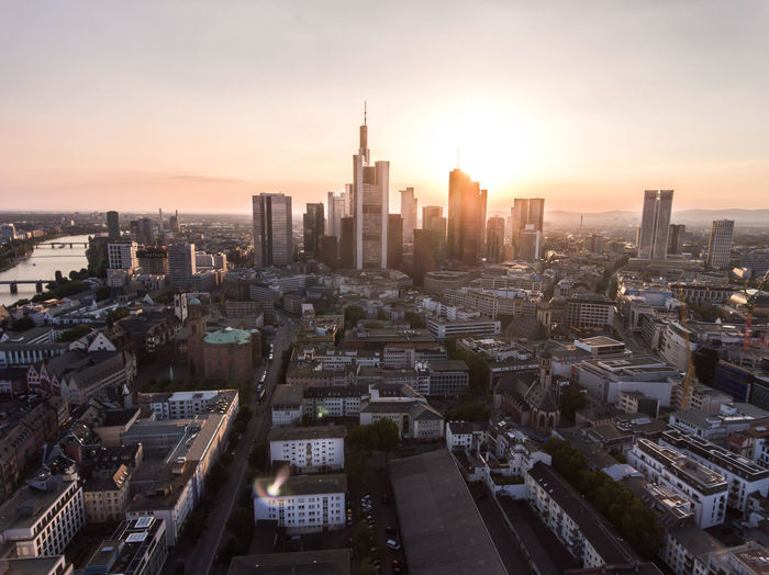 Frankfurt am main, germany high angle view of city buildings during sunset