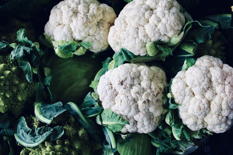 Close-up of vegetables cauliflower for sale in market