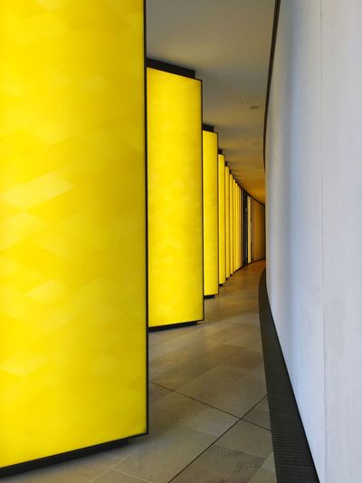 Yellow lights Light Art Yellow Lights Paris Fondation Louis Vuitton  Yellow Indoors  Flooring Corridor Architecture Empty No People The Graphic City