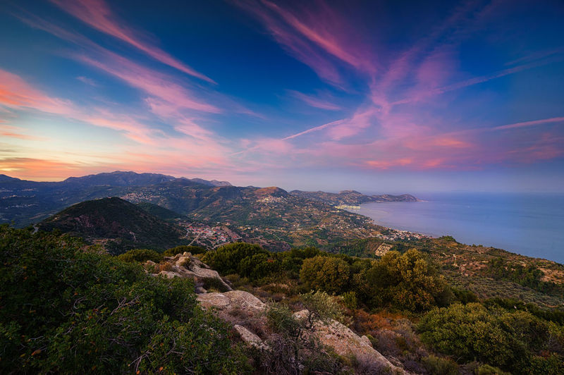 Blick auch Kymi und Platana zum Sonnenuntergang. Euböa Evia Island Greece Griechenland Mediterranean  Sunset_collection Euboea Greece Platana Skyscraper