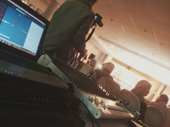Concert Mixer Light And Shadow Scena Notebook Sound Cords And Wires Cubase Recording Photographer Angle