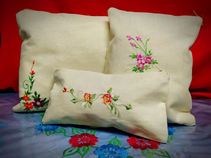 Close-up of floral pattern on pillows