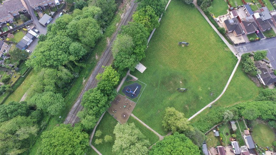 Looking Down Park Park - Man Made Space Tree Rural Scene Aerial View Field High Angle View Green Color Landscape Lush - Description Blooming Park Bench Growing