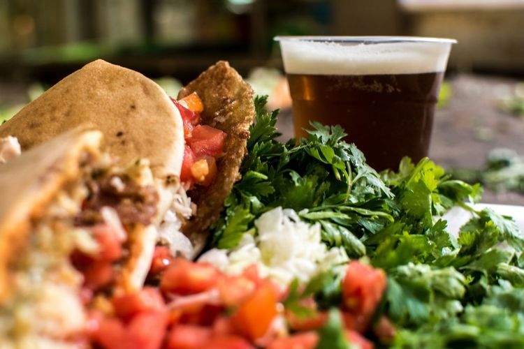 Taco With Salad And Drink At Home