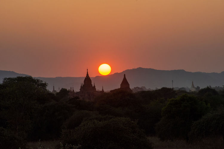 View of church at sunset
