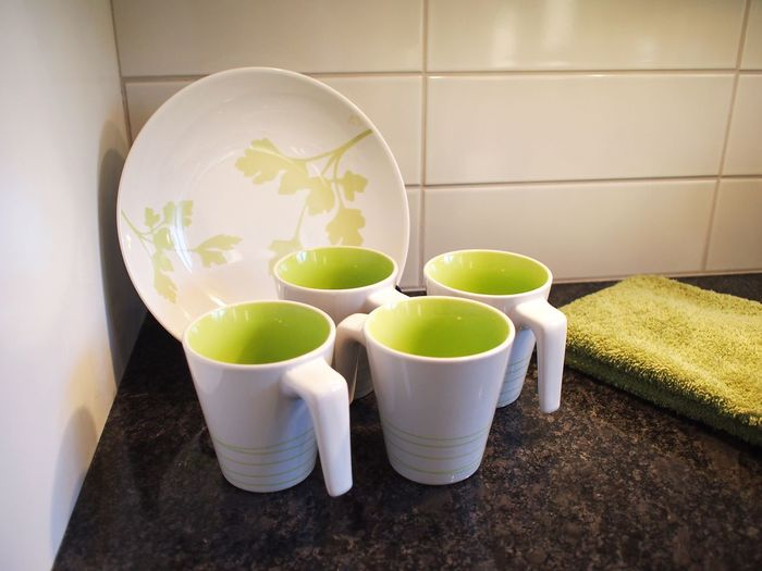 Interior Views Cups Green Color Lime Green Plate And Cups Granite Ceramic Backsplash
