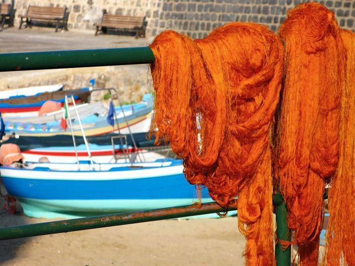 Beach Boat Close-up Day Fishing Net Harbor Moored Nature Nautical Vessel No People Outdoors Sea Sicilian Memories Summer Memories... Transportation Water