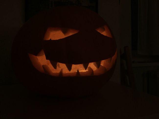 Halloween Anthropomorphic Face Orange Color Jack O Lantern