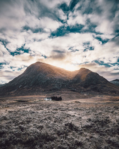 House in the Highlands Cloud - Sky Sky Mountain Scenics - Nature Beauty In Nature Tranquil Scene Environment Landscape Tranquility Nature Non-urban Scene Mountain Range No People Remote Land Idyllic Day Outdoors Barren Mountain Peak Scotland Glencoe Scottish Highlands Highlands House
