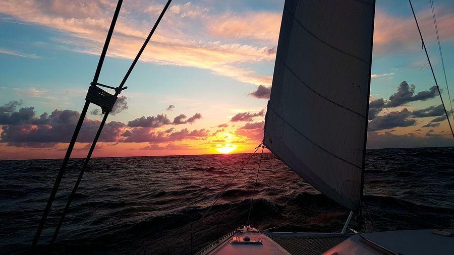 Sunset Sky Sailing Atlantic Crossing Atlantic Ocean Catamaran First Eyeem Photo