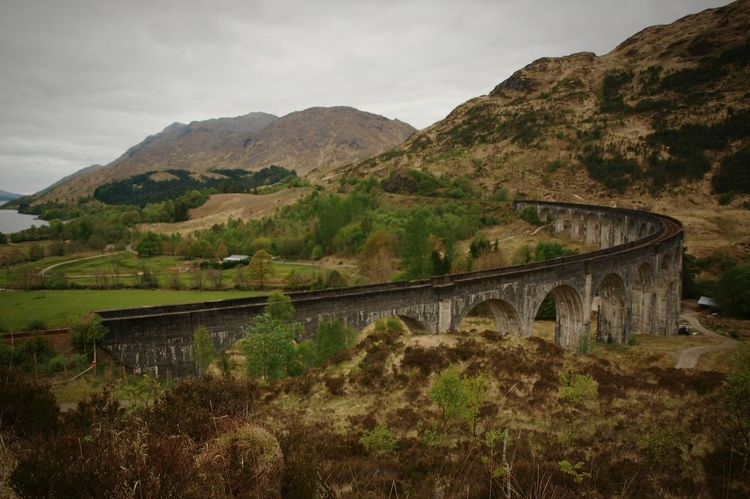 Glenfinnan Viaduct Scotland Highlands Landscape Mountain Loch Shiel Outdoors Railway Bridge Architecture Railway Railroad Track Famous Place Harry Potter Day Nature Sky Scenics Hills Water Loch  No People