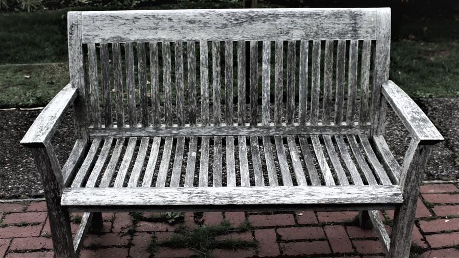 Close-up of empty bench in park
