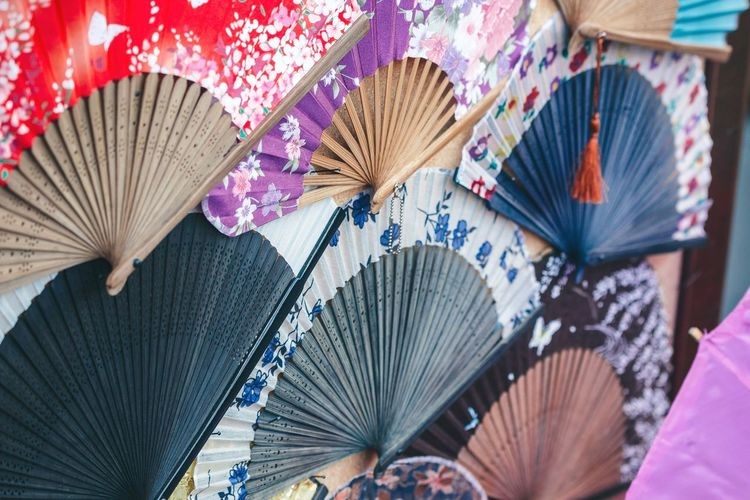 Japanese folding fans for sale at market stall