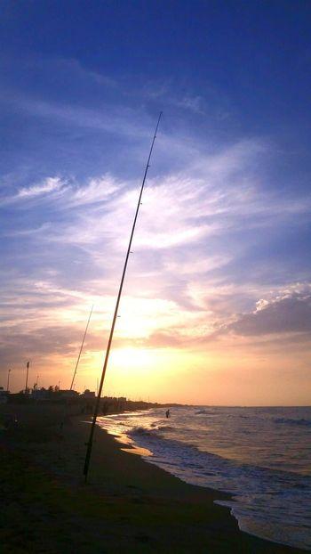 Fishing Time Sunrise Beach Nature
