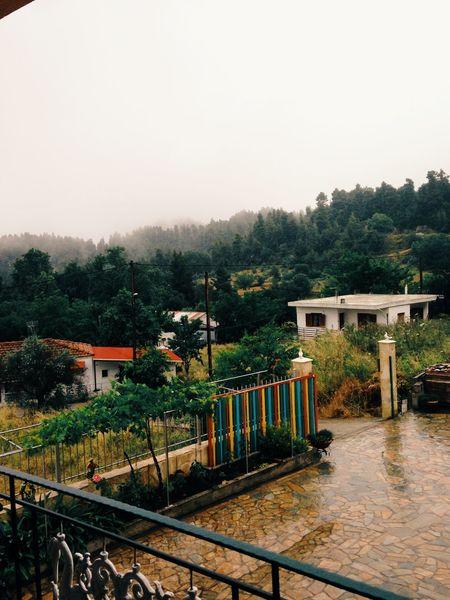 Mountains Trees Clouds Rain Summeringreece Greece