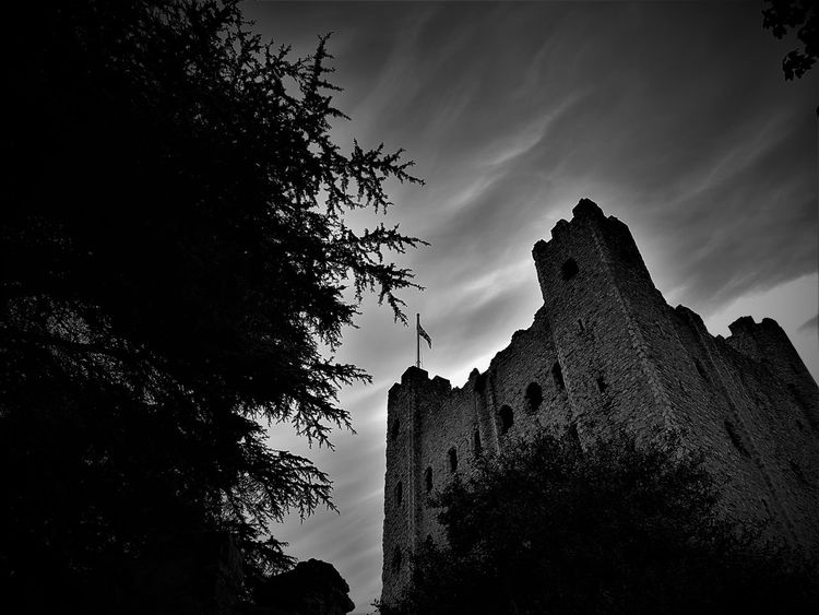 Ancient Architecture Beaultiful Beauty In Nature BIG Black And White Built Structure Castle Castle Ruin Day History Low Angle View No People Outdoors Rochester Castle Rochester UK Sky Tall - High Tourism Tourist Attraction  Travel Destination Travel Destinations Tree Trees Trees And Sky