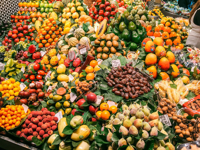 Abundance Barcelona Barcelona, Spain Display Food For Sale Freshness Large Group Of Objects Market Multi Colored Orange Color