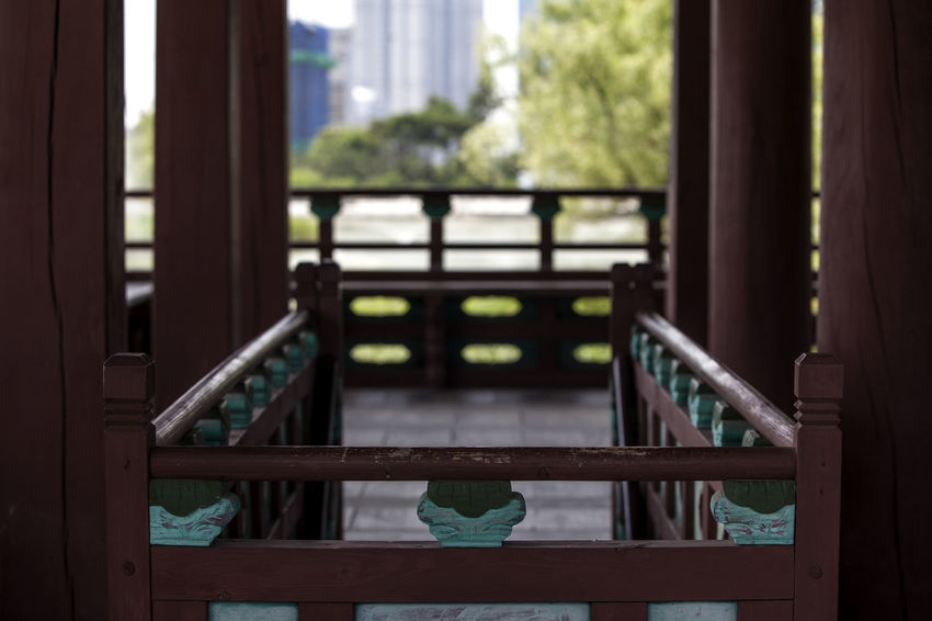 Architecture Close-up Closed Curtain Day Focus On Foreground Growth Korean Traditional Architecture Light And Shadow Michuhol Park Nature No People Pillar Shillouette Songdo, Incheon Window Window Sill Wood - Material Wooden Wooden Post