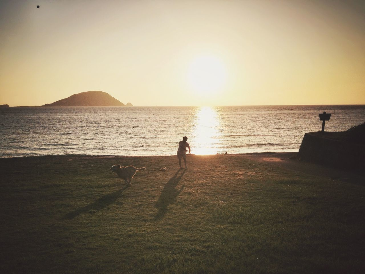 Man playing with dog on sea shore against sky during sunset