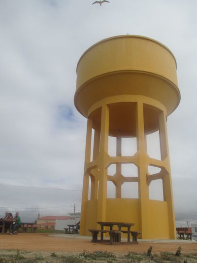 Architecture Beauty In Nature Benches Big White Clouds Built Structure Calm Calm Day Cloud - Sky Day Desert Beauty Loneliness Low Angle View Nature No People Outdoors Peniche Portugal Quiet Scene Scenic Serenity Silence Sky Tranquility Water Tower - Storage Tank Yellow Color Yellow Construction