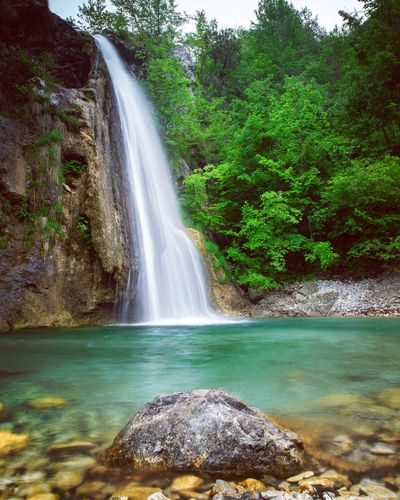 Waterfall in Trentino-Südtirol EyeEm Nature Lover Water Tree Plant Beauty In Nature Scenics - Nature Motion Nature Waterfall Flowing Water Long Exposure Outdoors Tranquility Power In Nature Green Color Rock No People Land Forest Day