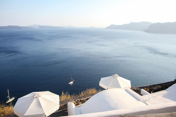 Scenic view of sea seen from santorini