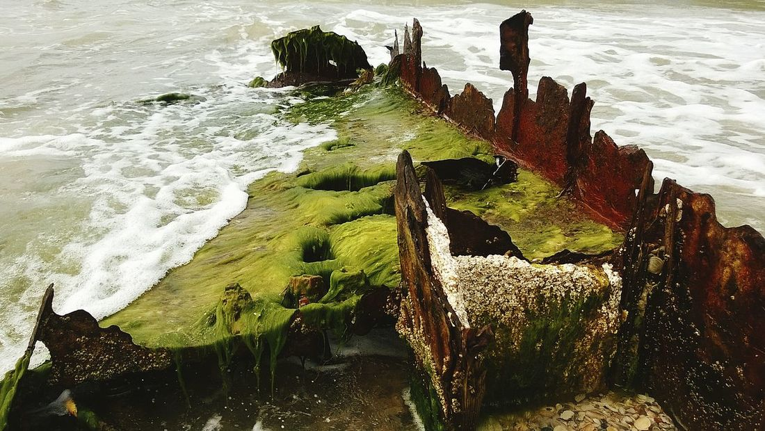 Time Forgotten Shipwreck Beachphotography Beauty In Death Rust Algae Waves, Ocean, Nature