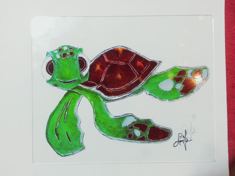 Not finished, but close Artmash PicArt Photography Color Artofvisuals Pencil Drawing ArtWork Art, Drawing, Creativity Etching Glass Turtle 🐢 Turtle Love Finding Nemo Squirt