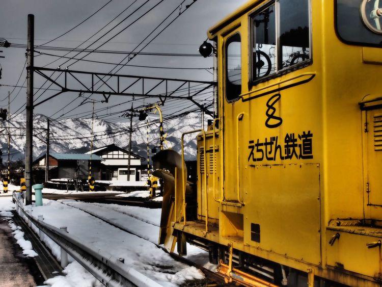 束の間の晴れ間☀️ Train Station Train Quietly Rail Transportation Transportation Railroad Track Snow Cold Temperature Public Transportation Cable Train - Vehicle Winter