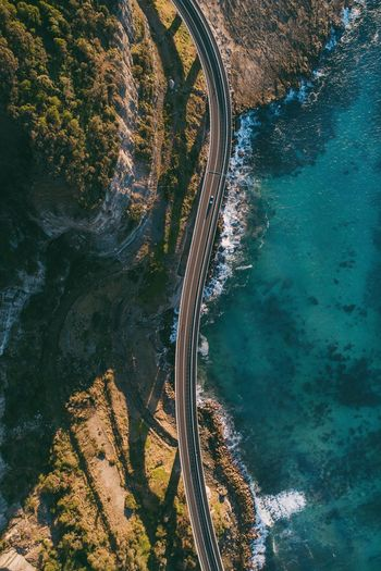 Sea Cliff Bridge. @itchban / itchban.com Drone  Aerial View Bay Beauty In Nature Day Flying High Angle View Mode Of Transportation Nature No People Outdoors Scenics - Nature Sea Tranquil Scene Transportation Travel Water The Architect - 2018 EyeEm Awards