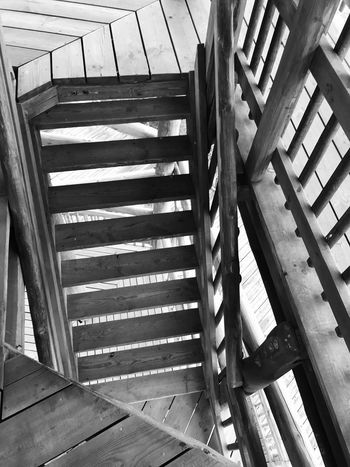 Made With IPhone 7 Black & White Architecture Staircase Day Steps And Staircases No People Built Structure Pattern High Angle View Sunlight Shadow Railing Wood - Material Nature Outdoors Directly Above Security Building Safety Protection