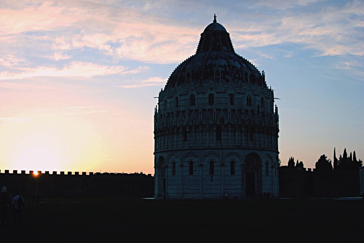 architecture, sunset, sky, built structure, building exterior, dome, cloud - sky, travel destinations, silhouette, history, outdoors, no people, day