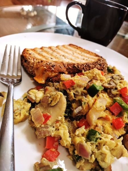 Food Indoors  Healthy Eating Food And Drink Freshness No People Plate Toasted Bread Ready-to-eat Close-up Scrambled Eggs Cheese Toast Grilled Cheese For Grownups Grilled Cheese Panini Breakfast ♥ Visual Feast Food Stories