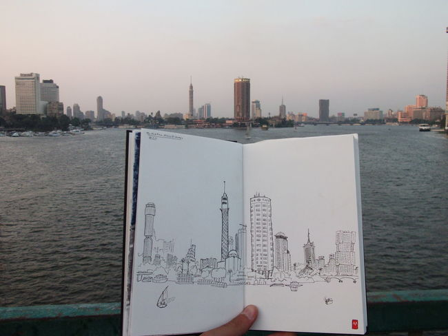 Architecture Art, Drawing, Creativity Cairo Egypt Cityscape Ink Nile River Sketchbook Sketching Urban Sketchers Urban Sketching Urban Skyline