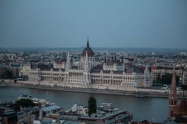 Budapest house of parliament view at the sunset.