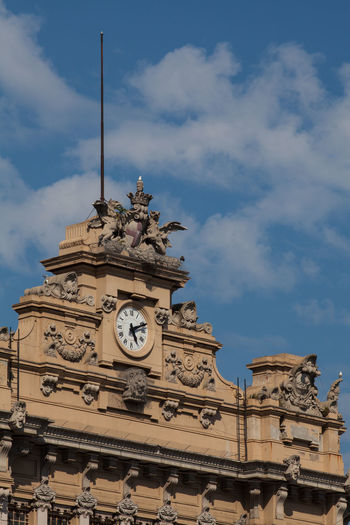 Clock at of the Genova Brignole railway station Architecture Building Exterior Built Structure Clock Clock Face Clock Tower Cloud - Sky Day History Hour Hand Low Angle View Minute Hand No People Outdoors Sky Time Travel Destinations