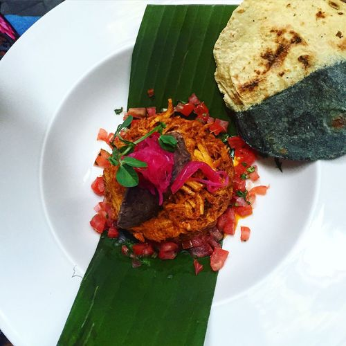 High angle view of cochinita pibil served in plate