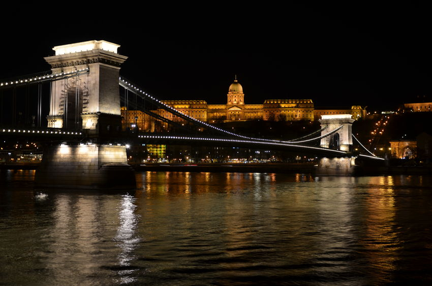 Bridge Budapest Castle Capital Cities  Chain Bridge Cityscapes Danube Danube River Night Water Waterfront
