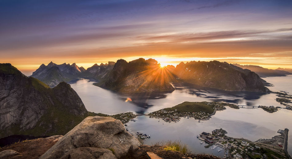 Scenics - Nature Beauty In Nature Sky Cloud - Sky Sunset Tranquil Scene No People Rock Mountain Peak Landscape Non-urban Scene Sea Nature Tranquility Mountain Norway Lofoten Lofoten Islands Reine Midnight Sun Summer Sunset_collection Amazing View EyeEmNewHere Fjord