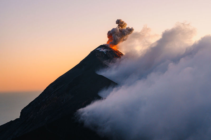 View of volcano during sunset