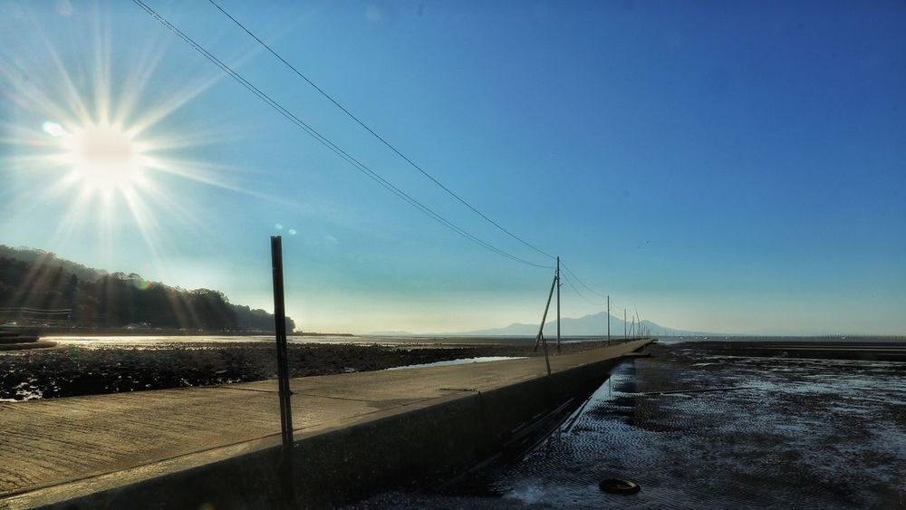 Road 電信柱 海 道路 道 街灯 空 EyeEm EyeEm Best Shots Nature Japan Photography EyeEmNewHere EyeEmBestPics Telephone Line Water Road Rural Scene Cold Temperature Blue Winter Beach Sky Telephone Pole Power Line  Power Supply Cable Electricity Tower Wire Parallel Empty Road