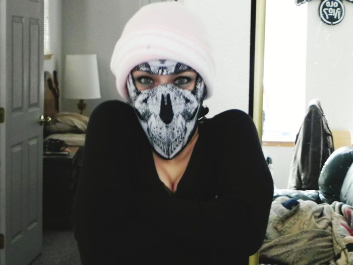 masked bandit Eyes Female Ski Mask Portrait Disguise Looking At Camera Hooded Shirt Spooky Hiding Front View Privacy Covering