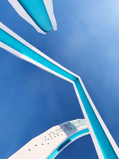 Architecture Blue Sky Low Angle View Nature Day Clear Sky No People Hanging Water Turquoise Colored Pool Arts Culture And Entertainment Sunlight Outdoors Architecture Copy Space White Color Swimming Pool Built Structure