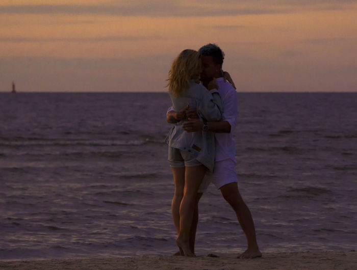 Romantic Vacation Time Beach Beauty In Nature Couple - Relationship Dusk Emotion Full Length Horizon Over Water Land Love Positive Emotion Scenics - Nature Sea Sky Standing Sunset Togetherness Two People Water Women Love Is Love